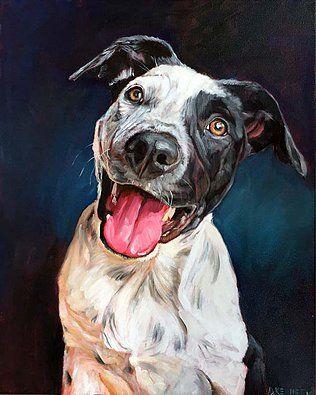 Jet the Blue Heeler. Custom dog portrait by BFF Pet Paintings by David Kennett. Dog art, dog portrait, dog painting, dog artist.
