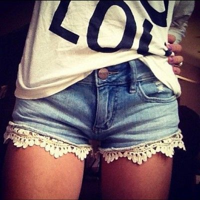 Jean shorts with floral lace on the bottom <3 Get them at Pacsun