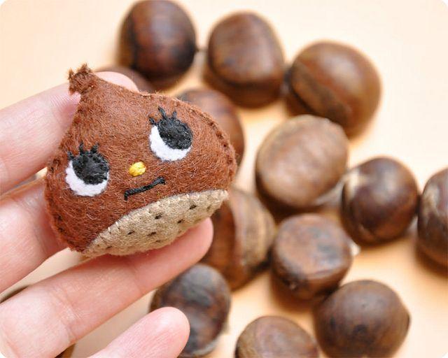 Chestnut handmade felt brooch