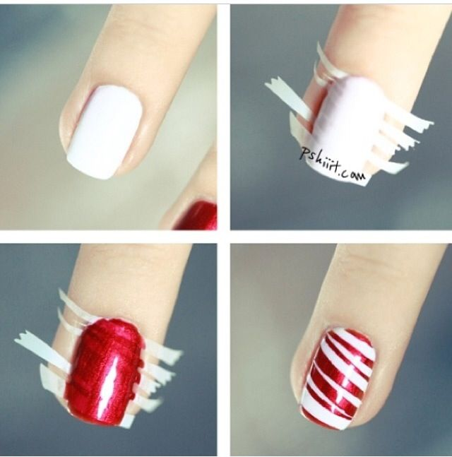 This is easier if you paint your nails red and then use acrylic paint (craft paint) to paint on the stripes and then top coat to protect
