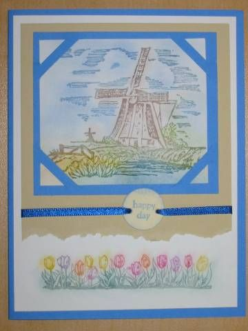 Windmill-Netherlands by Stampin Up in spring pastel colors. Hollandse Kaarten
