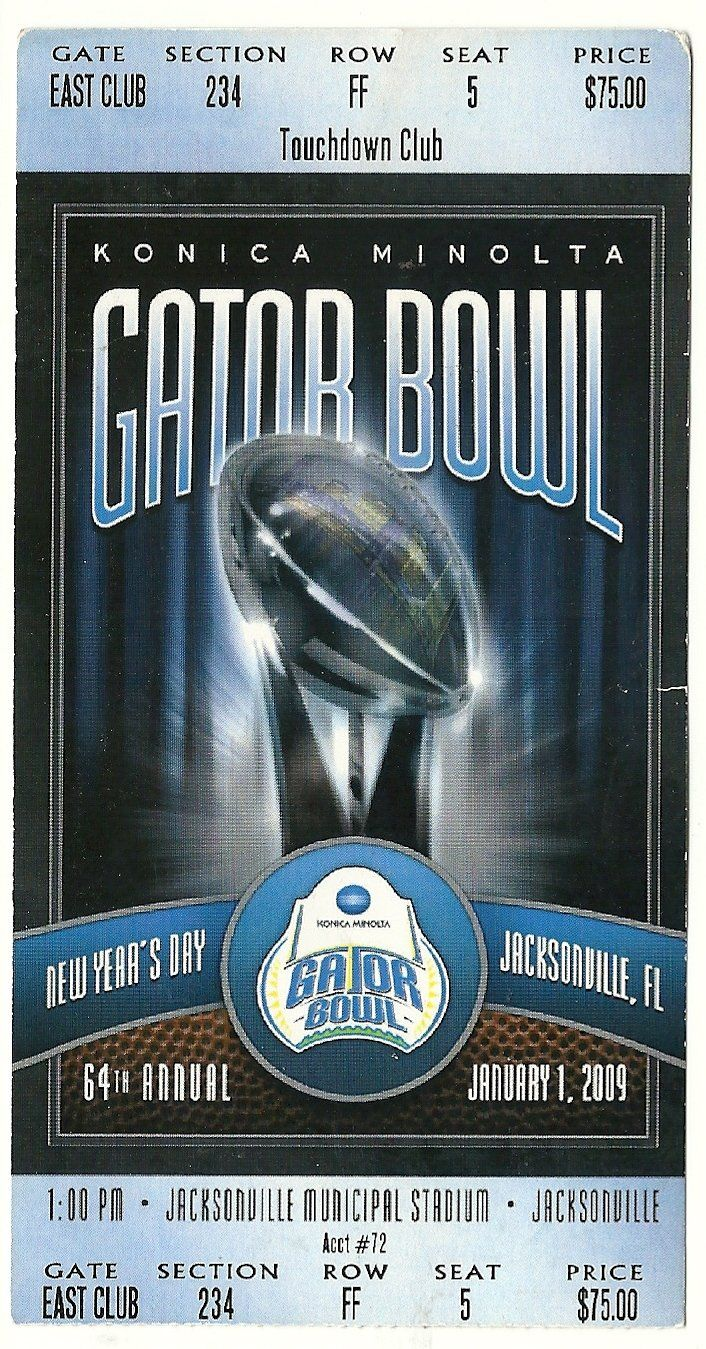 2009 Gator Bowl Game Full Ticket Nebraska Clemson....if you like this you can find many more college bowl game tickets for sale at www.everythingcollectibles.biz