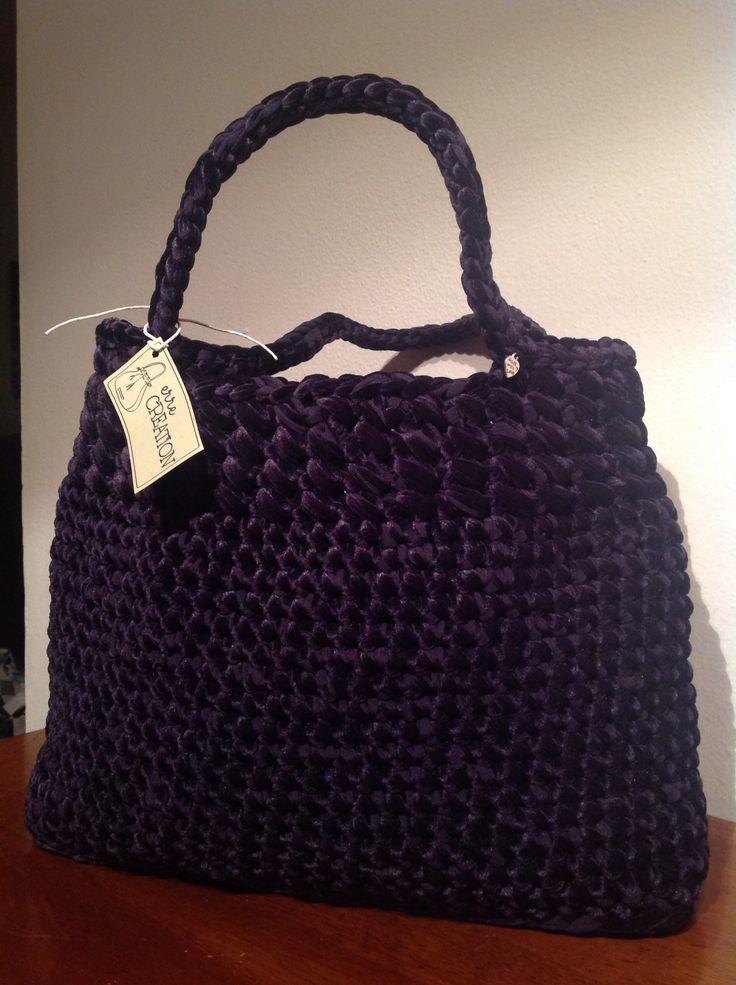Borsa di velluto nero #bag #borsa #black #fettuccia
