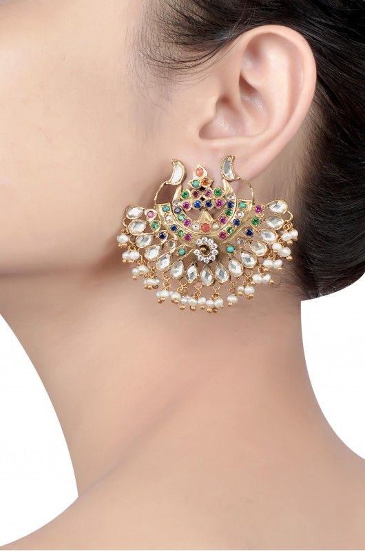 Silver Gold Plated Crystal Pearl Multi Stones Earrings