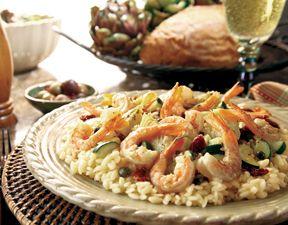 Mediterranean Shrimp #Scampi with Sun-Dried Tomato and Artichoke Orzo ...