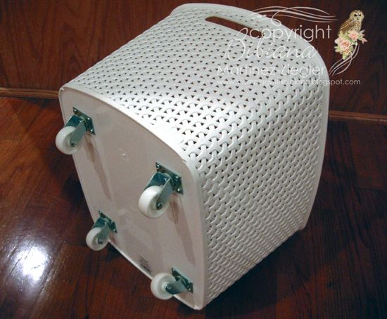 How to turn a plastic bin into a rolling cart for storage 12x12 paper pads