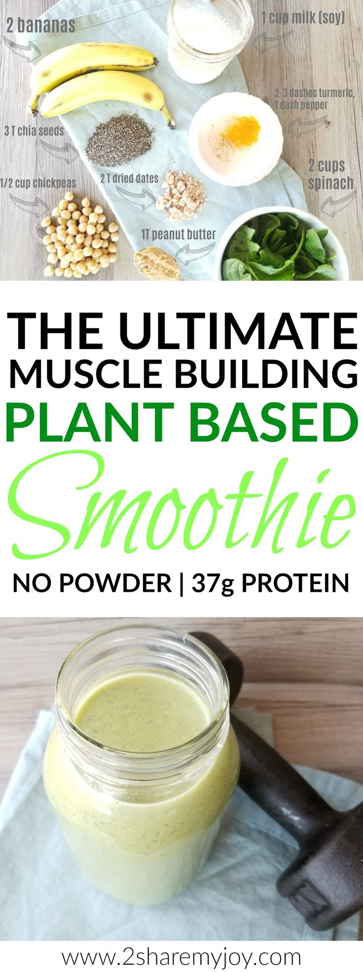 The Ultimate Muscle Building Vegan Smoothie for mega gains contains 950 calories, 37g proteins, 34 g fiber, and lots of vitamins and minerals. For this plant based protein green smoothie you don't need any powder. I like to drink this clean eating whole food smoothie in the mornings as a protein breakfast shake, or after workout. It is also gluten free and works wonders for muscle gain.