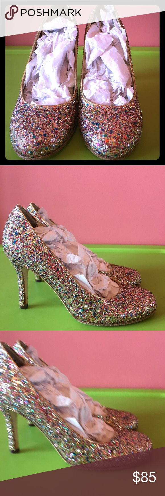 """Kate Spade Karolina Multi-Glitter Heels Worn once - 3.5"""" heel. Made in Italy. Perfect for any special occasion or to dress up any outfit! kate spade Shoes Heels"""