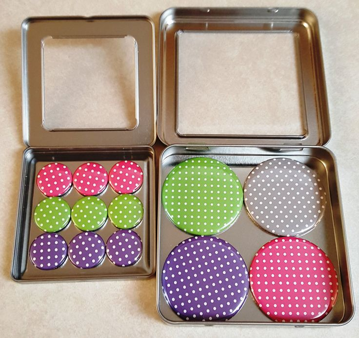 Set of Magnets in Storage Can, Refrigerator Magnets, Locker Magnets, Office Supplies, Gifts, Bright Polka Dots by LucysButtonBoutique on Etsy