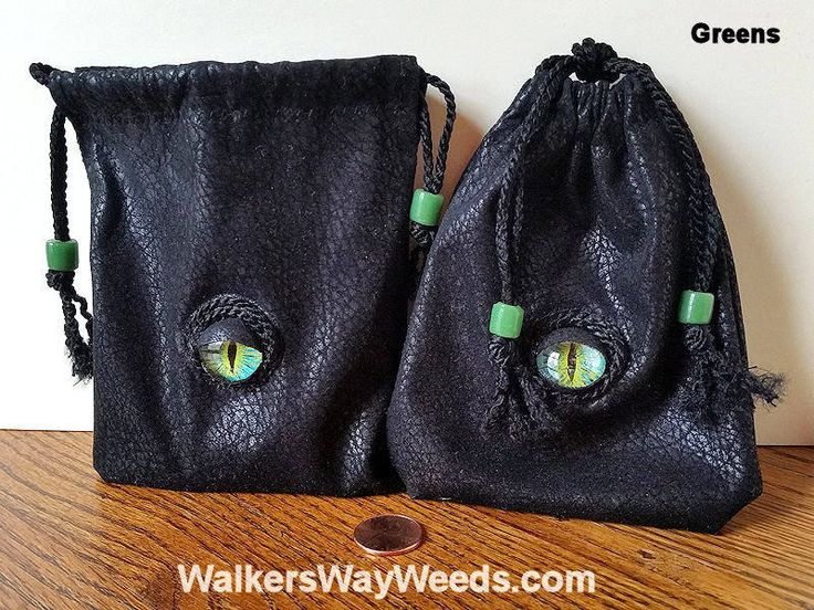 Small Dice-Rune Bags-Drawstrings-Hand-Painted Glass Eyes-OOAK by WalkersWayWeeds on Etsy