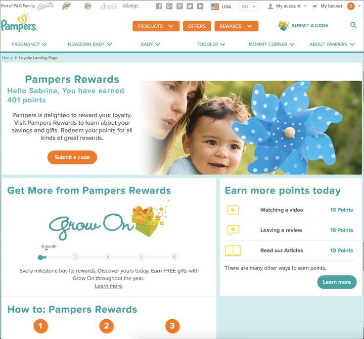 When a user purchases Pampers products, they can enter a code found on the product into an app or on the web and they get points for it. Pamper's offers rewards like discounts off Shutterfly products, coupons for other Pamper's items, or random toys for baby. The user can also search for codes online and build points this way.
