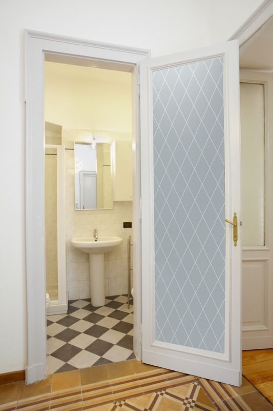 Diamond Grid Private Interior Glass Etched Doors Glass