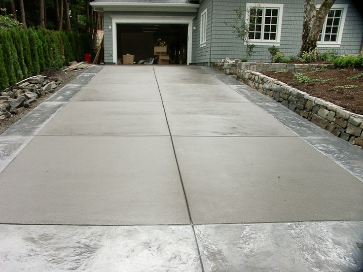 Broom Finish Concrete With Stamped Outline Stamped