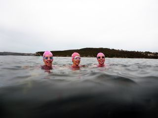 Heidi, me and Gab doing the christmas adventure swim in Sydney Harbour