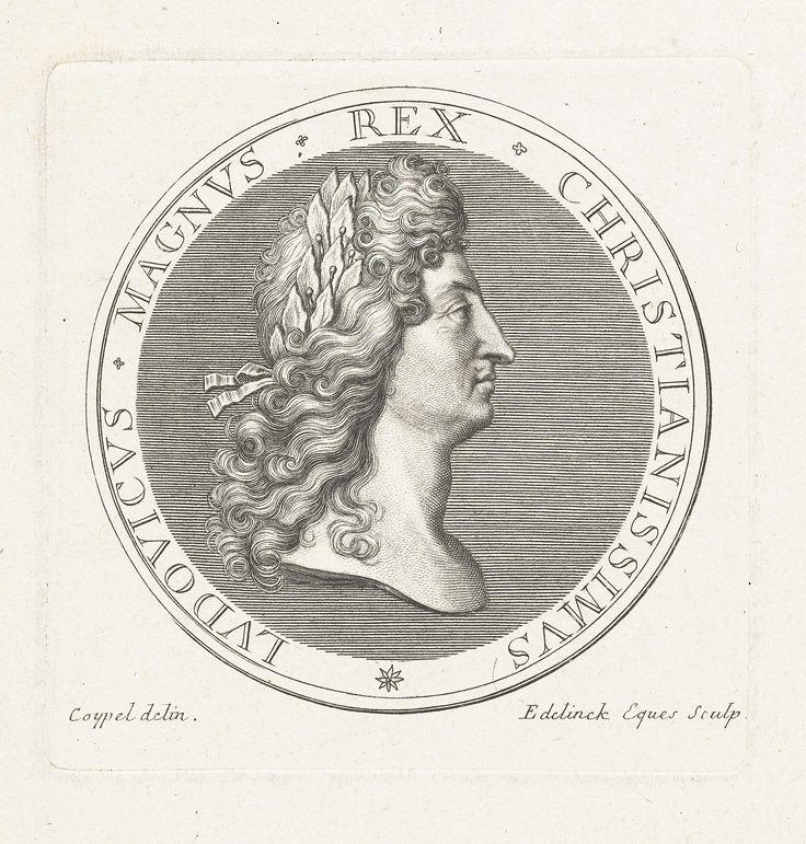 Gerard Edelinck | Penning met buste van Lodewijk XIV, Gerard Edelinck, 1702 | Voorkant van een penning met buste en profil van Lodewijk XIV met laurierkrans op hoofd.