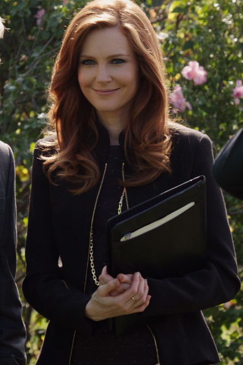L'Agence black coat with Obakki plum dress worn by Abby Whelan (Darby Stanchfield) on Scandal Season 4.