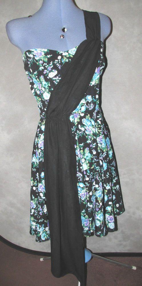 annie greenabelle,ladies,size 14,black,floral,skater cotton,formal,Tea Dress.