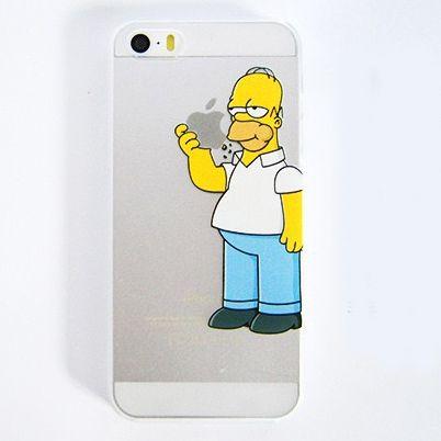 para iphone 4 4s 5 5s 5c os simpsons homer comer logotipo semi caso claro em Capas para Telefones Celulares de Eletrônicos no AliExpress.com...