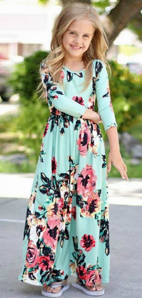 85c0e79ff5b0 Long Sleeve Toddler Maxi Dress Mint Floral Long Sleeve Dress for Toddlers   toddlerfashion