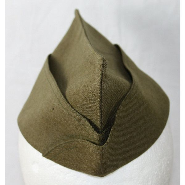 Vintage US Army Garrison Hat, 1930's to 1940's ($10) ❤ liked on Polyvore featuring accessories, hats, vintage hats, vintage military hats, army hat, woolen hat en wool hat