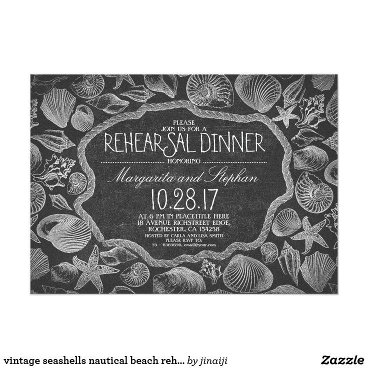 creative wording for rehearsal dinner invitations%0A Vintage seashells nautical beach rehearsal dinner card