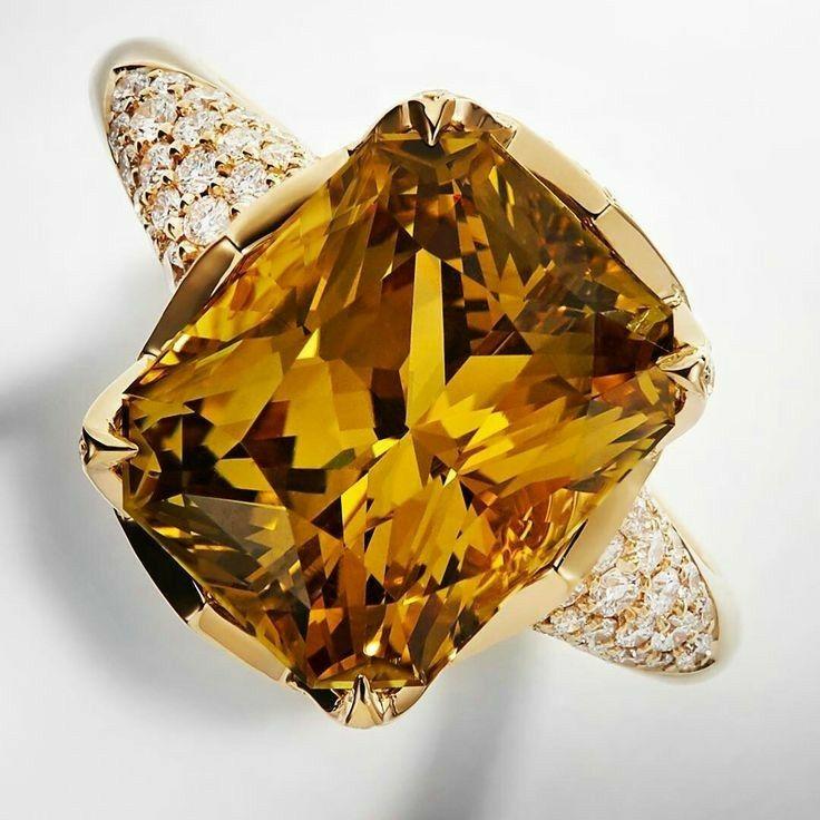 Kat Florence citrine and diamond ring