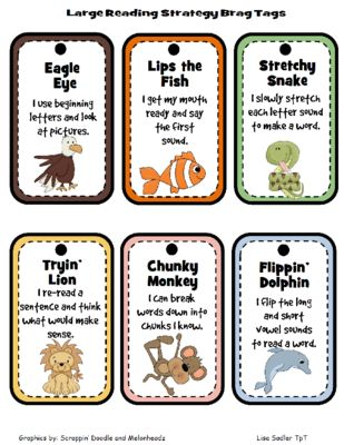 Beanie Baby Reading Strategy Incentive Punch Cards-Brag Tags- Wristbands