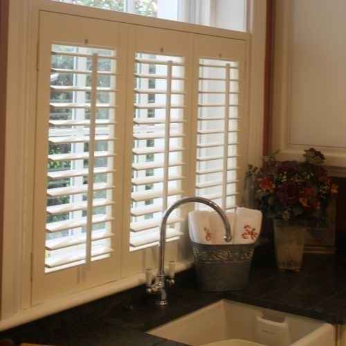Window shutters in the kitchen. Lower half for privacy, leaves top for view.