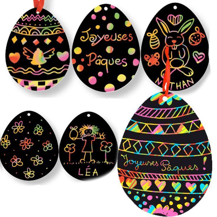 Oeufs de Pâques en carte à gratter - bricolage facile Tête à modeler