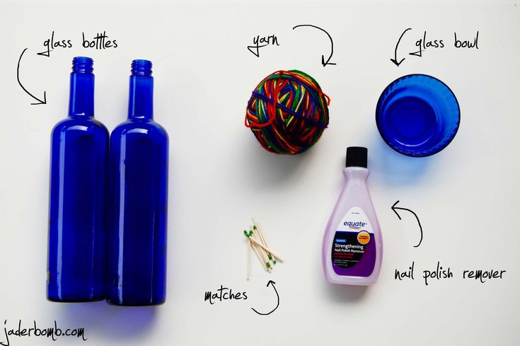 How to cut glass with nail polish remover and yarn.: Bottle Cut, Polish Removal, How To Cut Glasses, Diy Crafts, Glasses With Yarns, Nails Polish, Cut Glasses With, Wine Bottle, Glasses Bottle