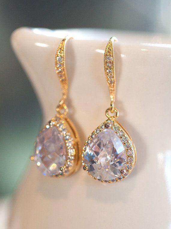 Drop earrings bridal jewelry gold earrings vintage earrings Wedding jewelry  winter bride estate style bridal earrings by NotOneSparrow on Etsy