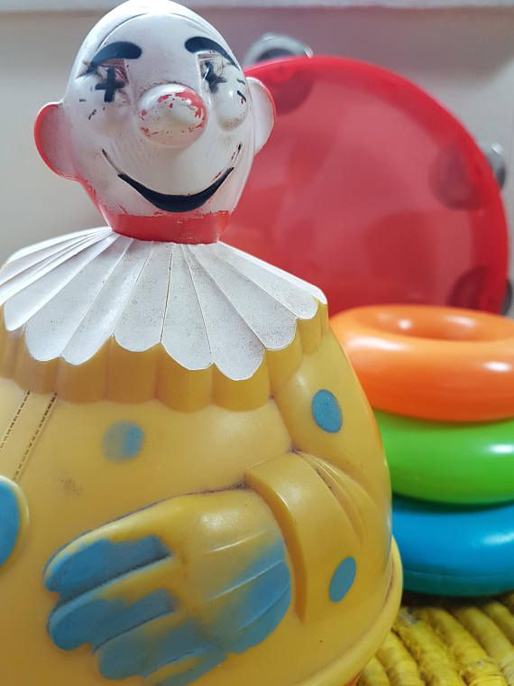 Vintage roly poly Knickerbocker plastic clown toy 1940 home