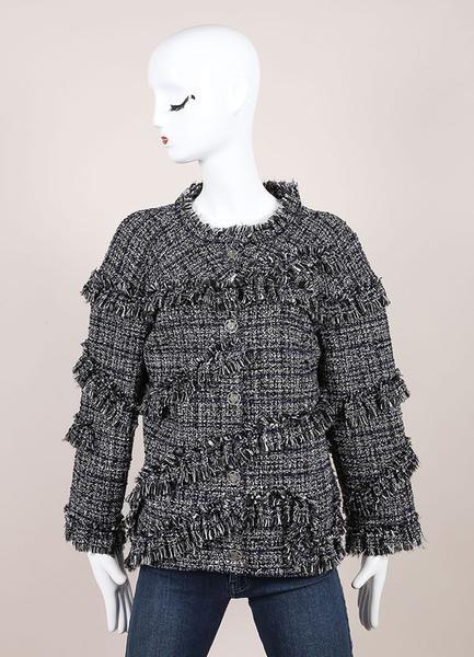 Black and White Boucle Fantasy Wool Tweed Jacket – Luxury Garage Sale
