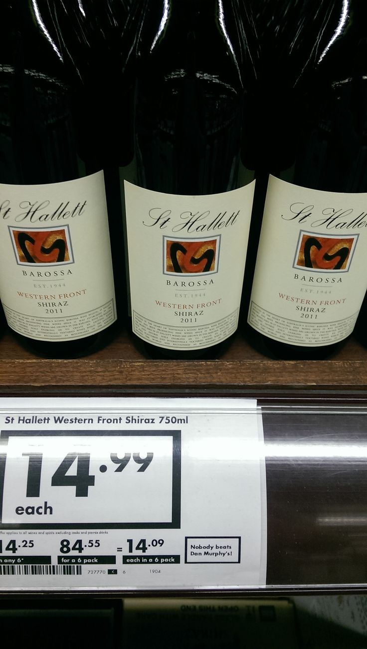 "The other St Hallett's I would happily drink is thier ""Western Front"" Shiraz it is $15 and really quite delicious!"