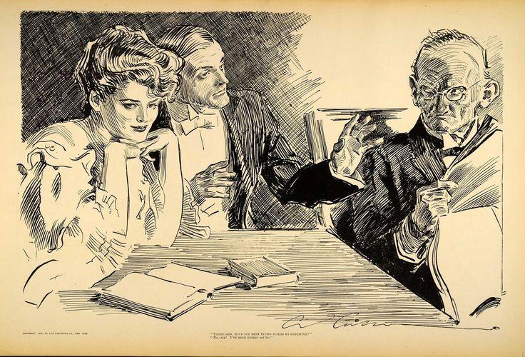 1906 Print Charles Dana Gibson Girl Lovers Kiss Father Victorian Romance Humor