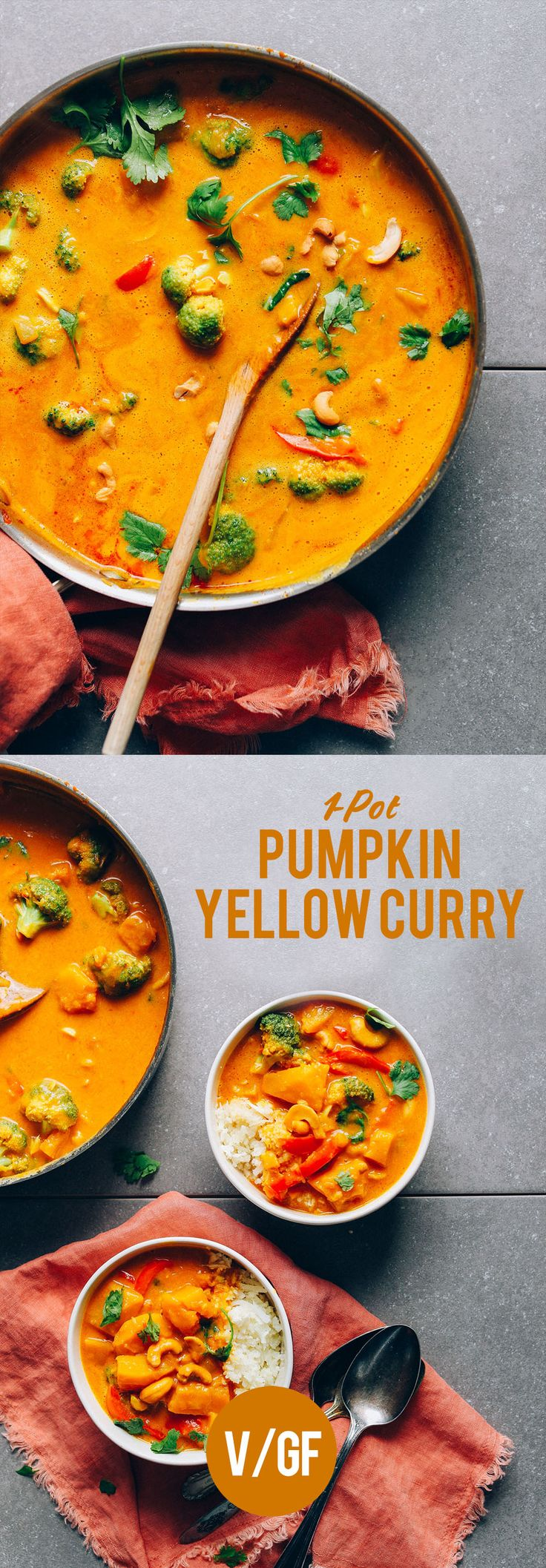 Easy, one-pot Pumpkin Curry with yellow curry paste, coconut milk, fresh vegetables, and pumpkin is our favorite seasonal (and satisfying!) plant-based dinner.