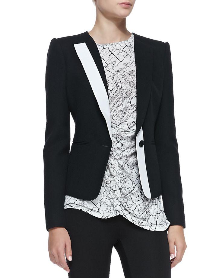 Marcelle Contrast-Trim Tuxedo Jacket by BCBGMAXAZRIA at Neiman Marcus.