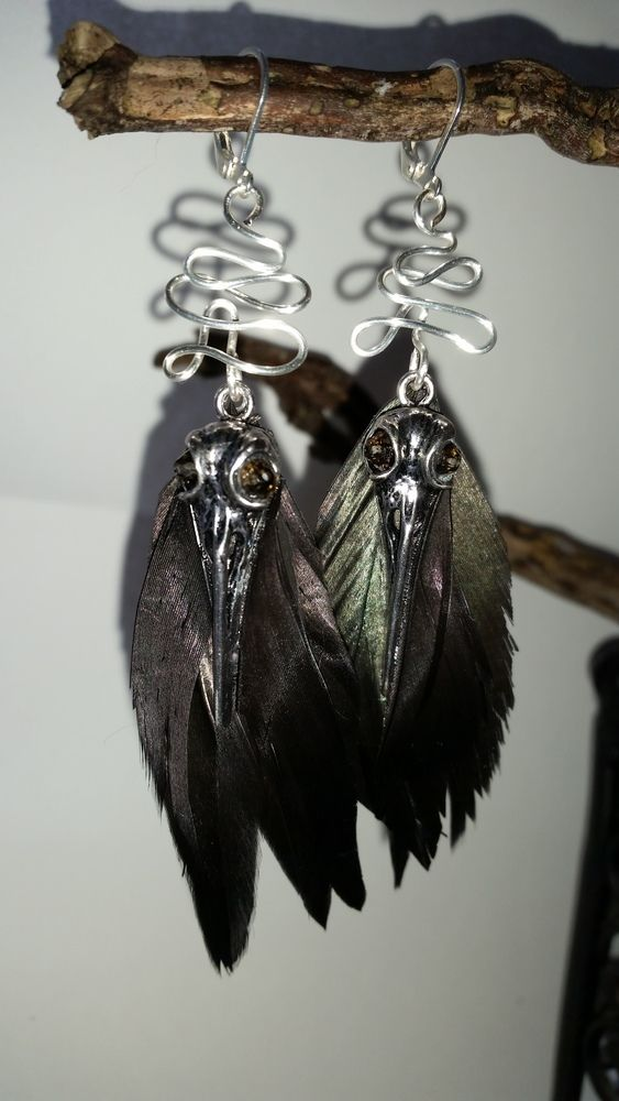 Gothic Raven Skull and Feather Earrings £12.00