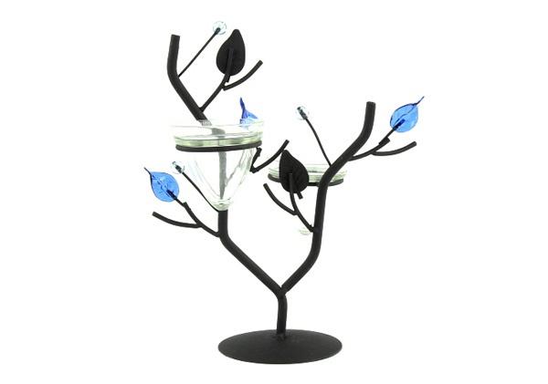 Svícen ve tvaru větvičky modré lístky
