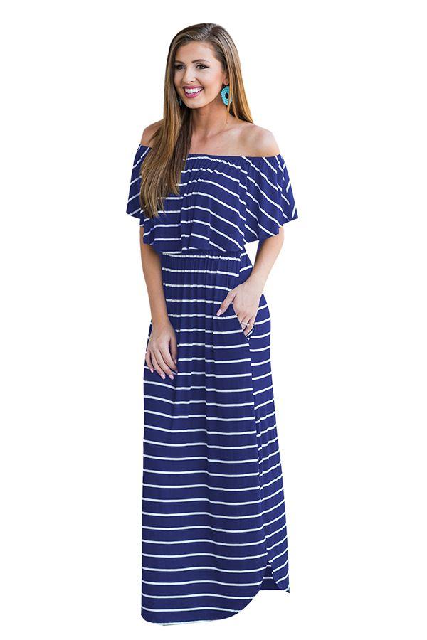 6ad3efab06a33 Womens Sexy Off Shoulder Stripe Maxi Dress Blue | Matte in 2019 ...