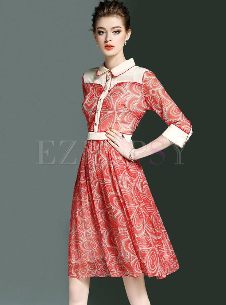 Elegant Print Turn Down Collar Skater Dress