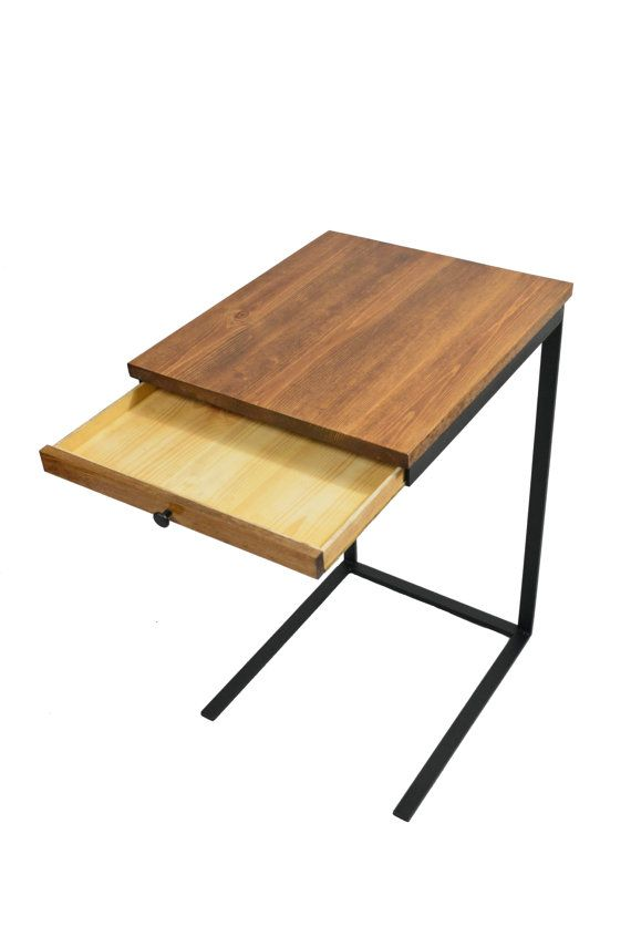 TV Tray Table With A Drawer Laptop Desk C By BlackIronMetalWorks