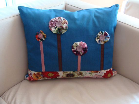 Decorative Pillow Cover with Buttons and Stylized Flowers, Unique Model, Modern, Handmade, Lovely Pillow, Modern Design, Livingroom Pillow