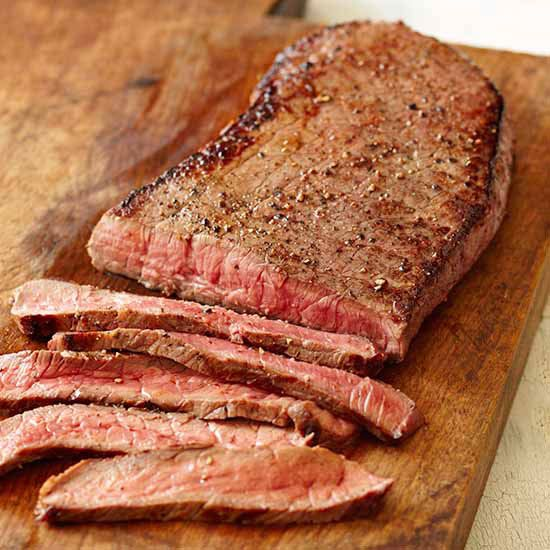 Calories in Steak  Calories: 158 calories per 3 ounces Other good stuff: Flank steak trimmed of fat is a great source of protein. Steak is also high in vitamin B6, which helps regulate metabolism