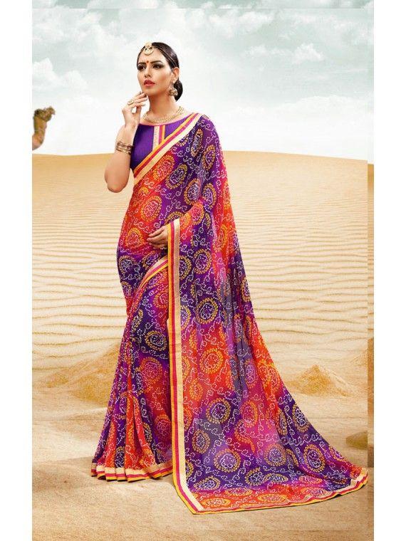 Smashing Shaded Navy Blue, Pink and Purple Printed Bandhej Saree