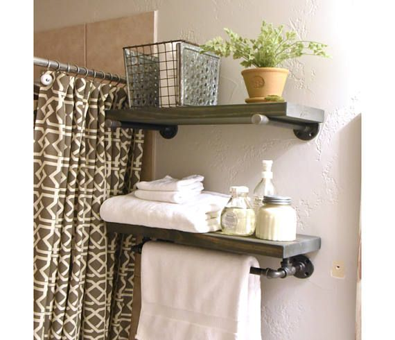 Industrial Floating Bathroom Two Shelf Combo With Towel Bar With