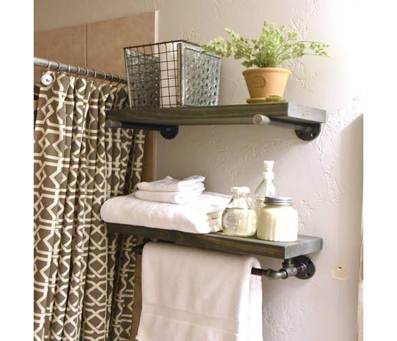Industrial Floating Bathroom Two Shelf Combo With Towel Bar