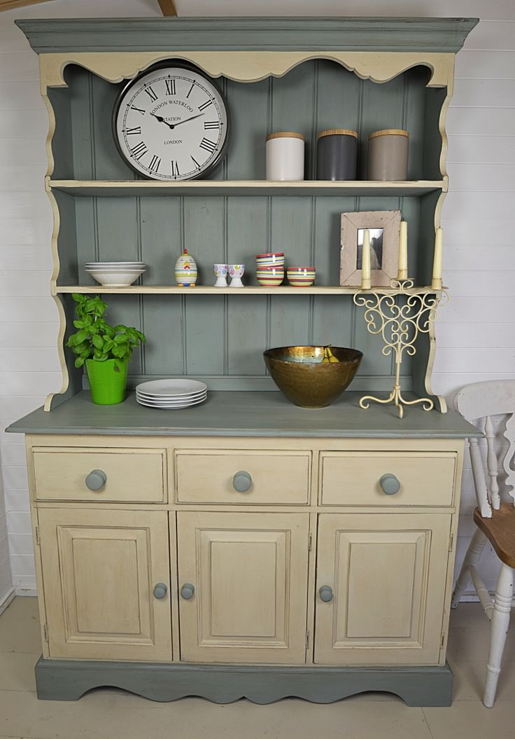 With 3 doors and drawers, there is ample storage for crockery, cutlery and with 2 shelves on top, you can display your wares in style!  Painted in Annie Sloan Duck Egg Blue & Old Ochre