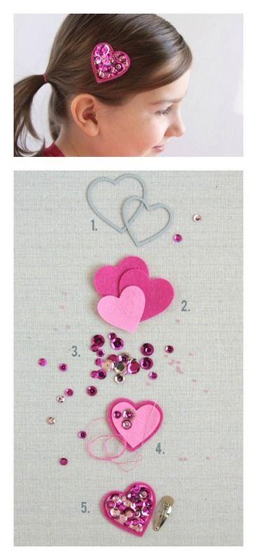 Valentine heart sequins hair clip