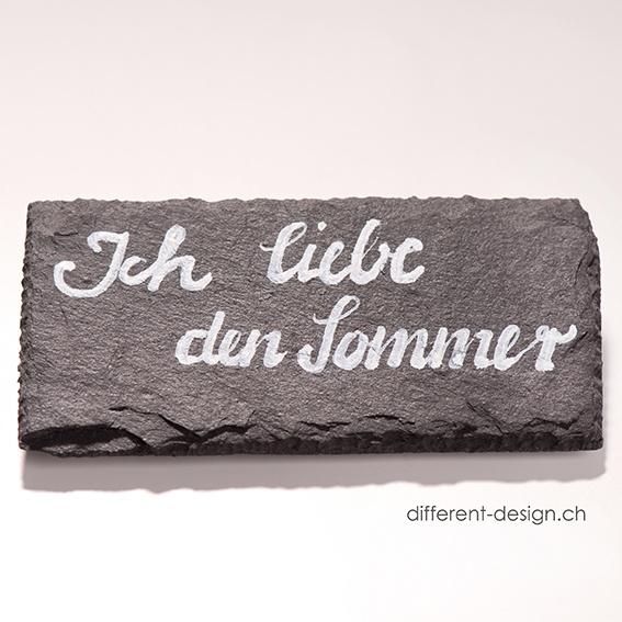 handbeschriftet: Schiefer Mini (10x5), eigener Text & eigene Schrift wählbar